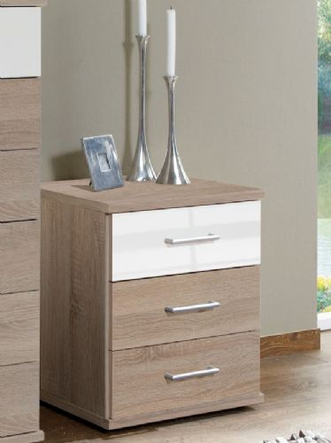 Anzo White Gloss And Oak Effect 3 Drawer Bedside - 2971